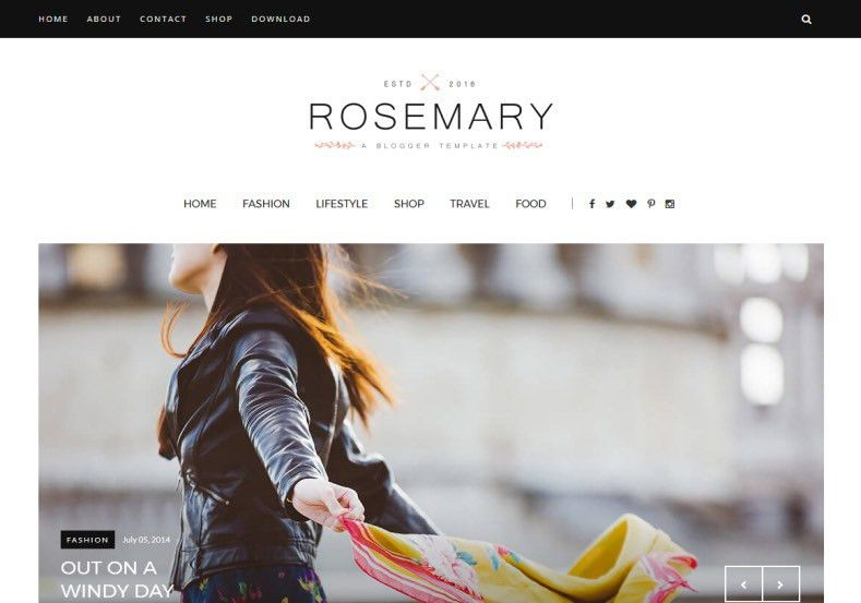 Rosemary Fashion Blogger Template • Blogspot Templates 2017