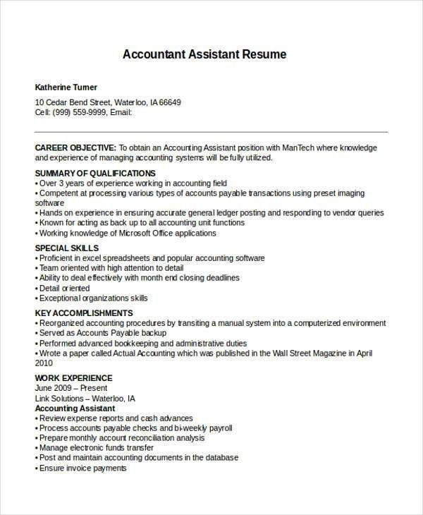 accounts payable resume format accounting assistant resume sample