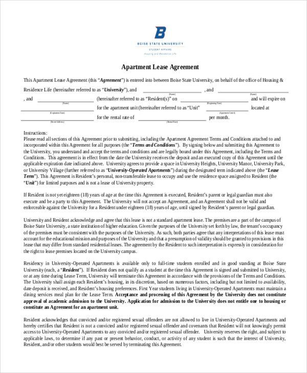 Sample Apartment Lease Agreement. Texas Residential Tenancy ...