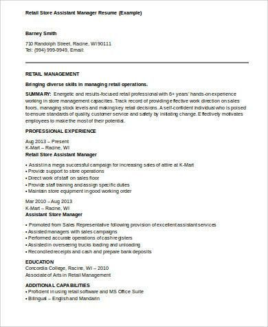 Sample Assistant Manager Resume - 8+ Examples in Word, PDF