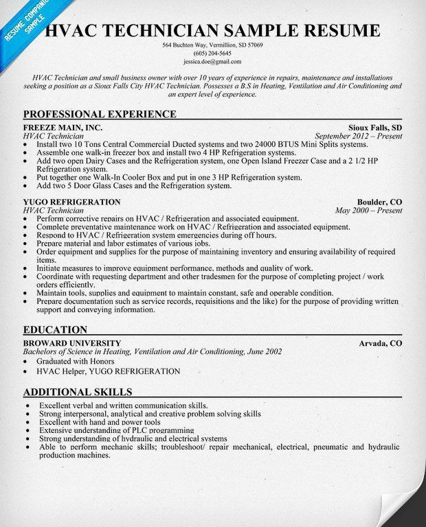 resume examples sample hvac resume sample mechanical engineering ...