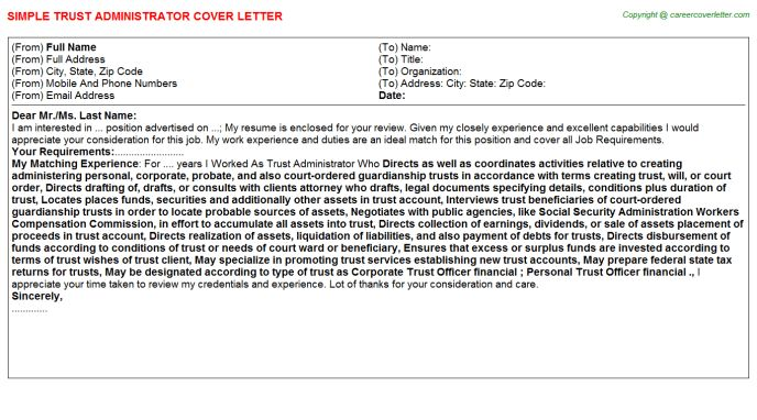 Trust Administrator Cover Letters