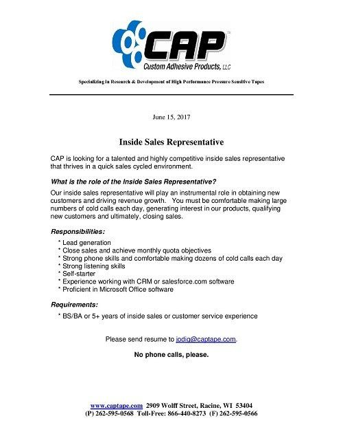 Custom Adhesive Products is seeking an Inside Sale Representative ...