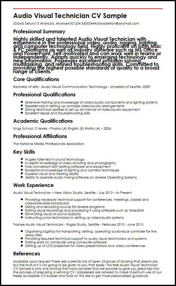 Audio Visual Technician CV Sample | MyperfectCV