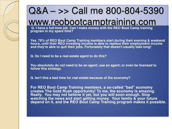 Reo Bootcamp training webinar on Buying/flipping bank owned properties