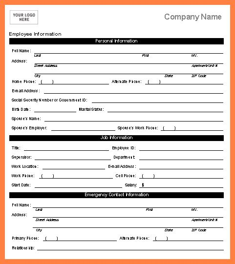 Personal Information Template 12 Personal Information Sheet – Information Form Template Word