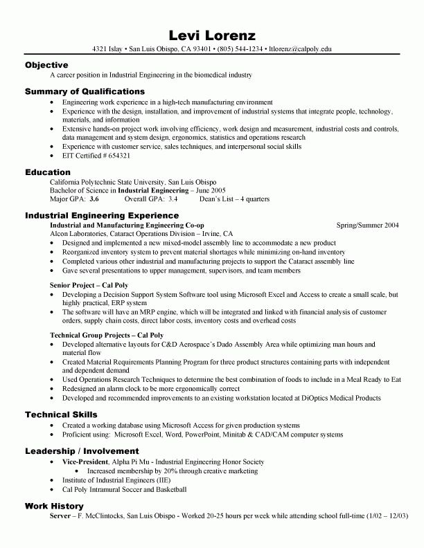 Engineer Resume Examples resume sample for project industrial ...