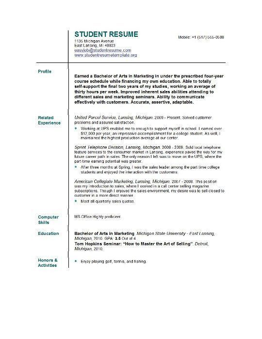 resume examples for undergraduate college students template ...