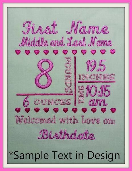 5x7 Birth Announcement Template – A Stitch in Time Embroidery Designs