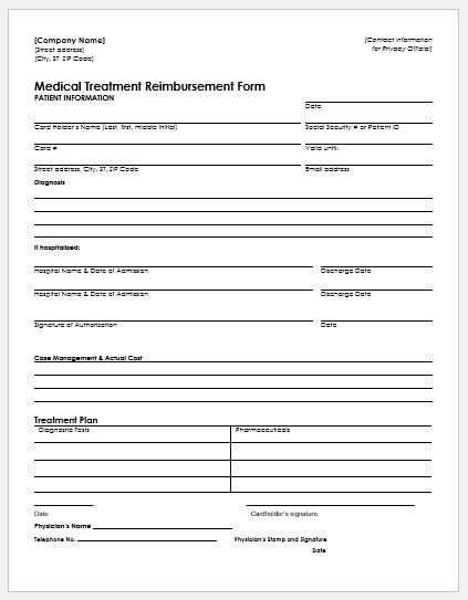 Expense Reimbursement Form Templates for Excel | Word & Excel ...