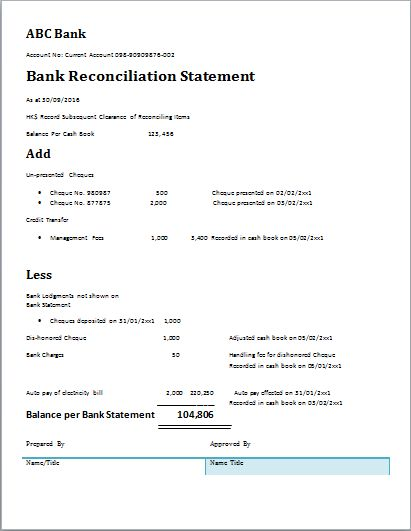 MS Word Bank Reconciliation Statement Template | Document Templates