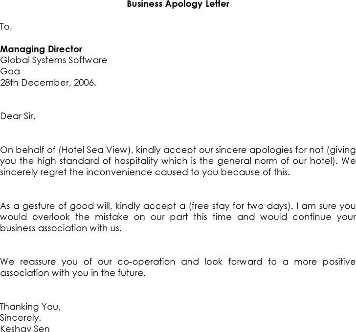 Business Apology Letter | Download Free & Premium Templates, Forms ...