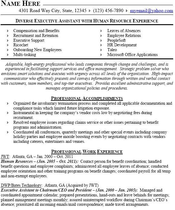 Examples Of Hr Resumes. Hr Resume Sample Hr Assistant Cv Template ...