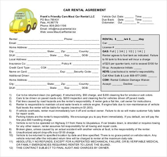 Car Rental Agreement – 8+ Free Word, PDF Documents Download | Free ...