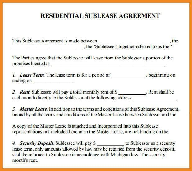 Sample Sublease Agreement | Art Resume ExamplesSublet Agreement ...