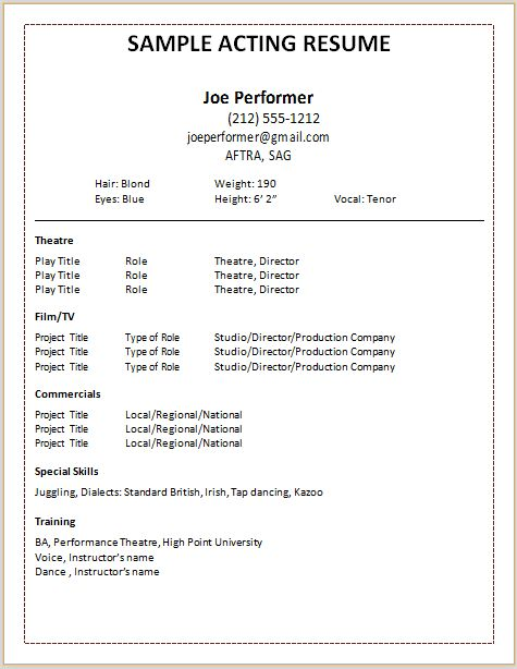 Child Actor Resume Format 1 Child Actor Sample Resume - Are ...