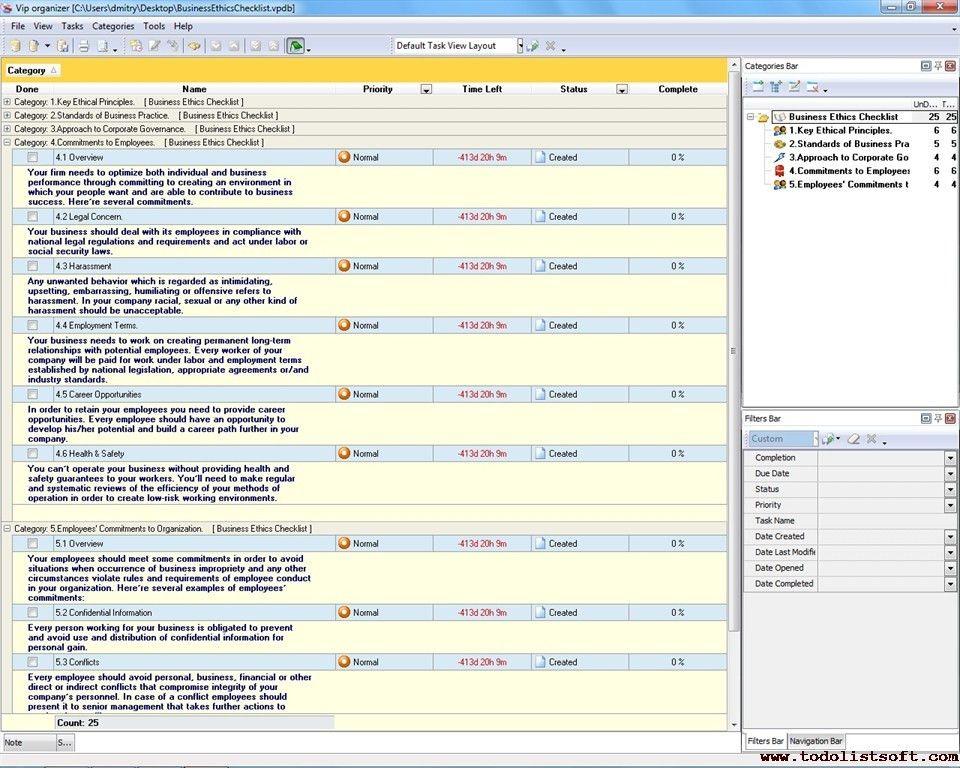 Business Ethics Checklist - To Do List, Organizer, Checklist, PIM ...