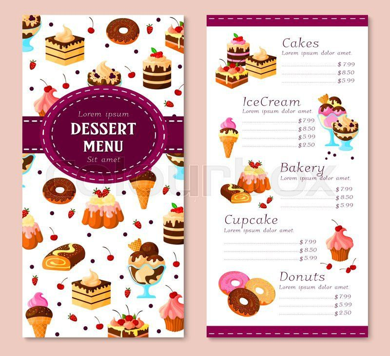 Bakery desserts vector menu template. Price for pastry cakes, ice ...