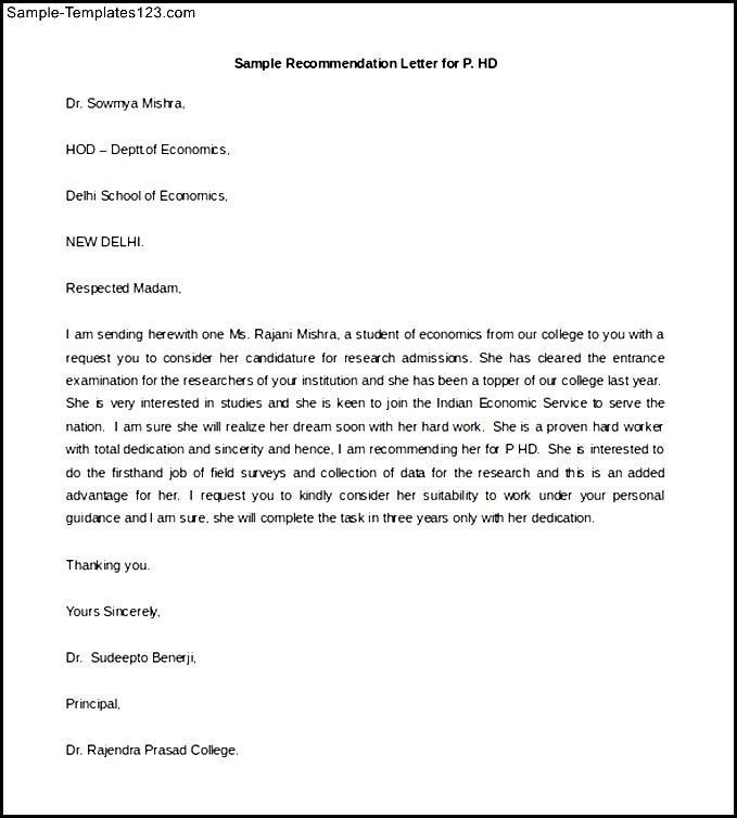 Simple Recommendation Letter Sample - Best Template Collection