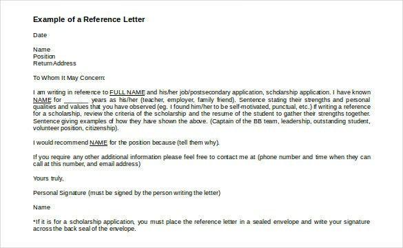 Reference Letter Job Template Letter Recommendation Letter Letter ...