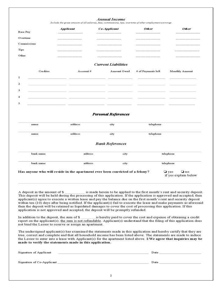 Illinois Rental Application Form Free Download