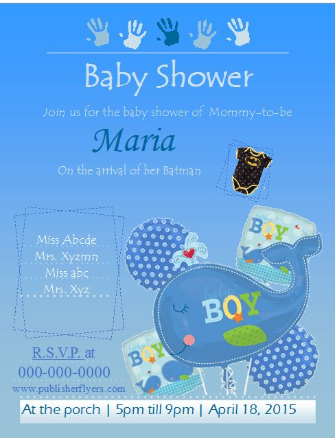 Baby Shower Flyer Template (Boys) – Publisher Flyer Templates