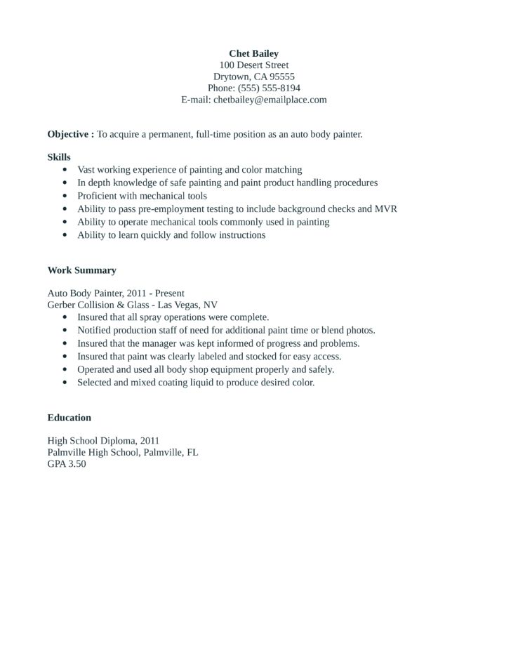 sample painter resume resume cv cover letter. painter resume ...