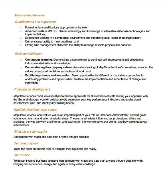 Sample Database Administrator Resume - 6+ Documents in PDF, Word