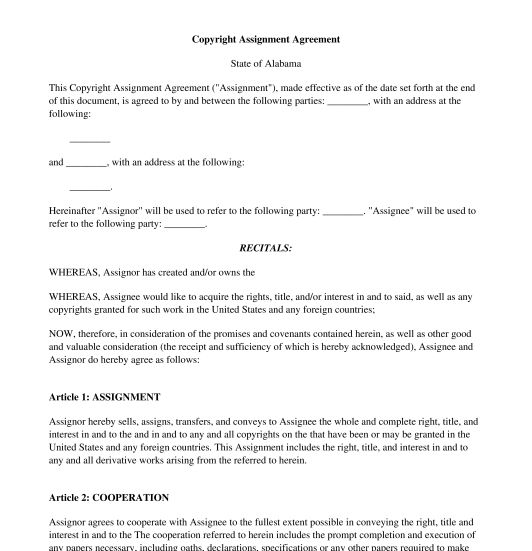 Copyright Assignment - Sample, Template - Word and PDF