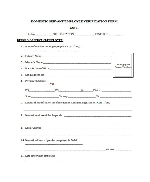 Sample Employment Verification Form   8+ Examples In Word, PDF  Prior Employment Verification Form
