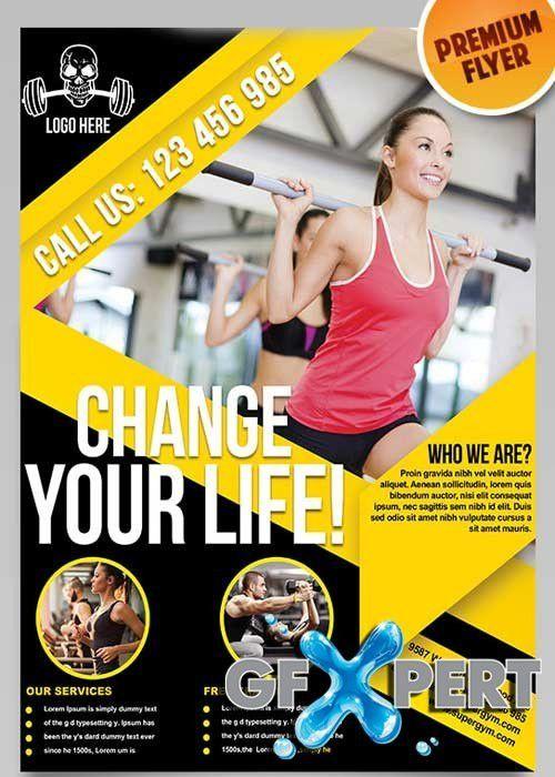 Free Fitness Flyer V5 Flyer PSD Template + Facebook Cover download