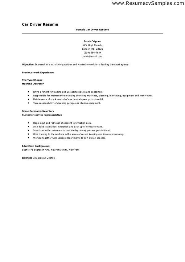 car driver resume sample 1. driver resume examples resume format ...