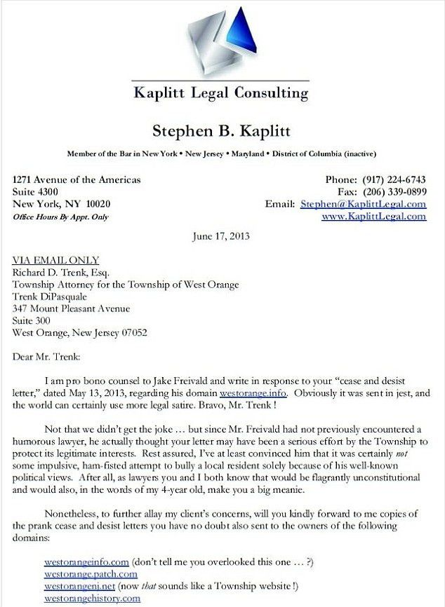 You big meanie! Lawyer's hilariously snarky cease and desist ...