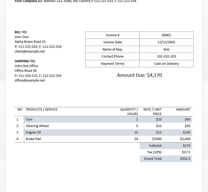 ms word invoice template free download | Free Invoice