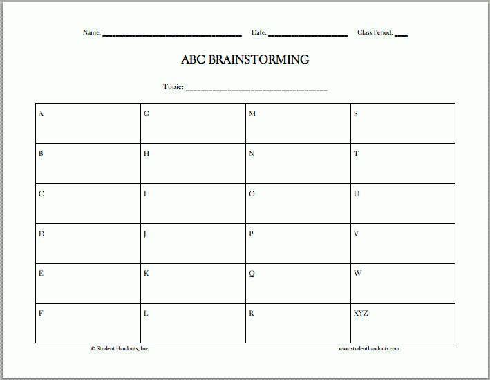 ABC Brainstorming - Free Printable Worksheet | Student Handouts