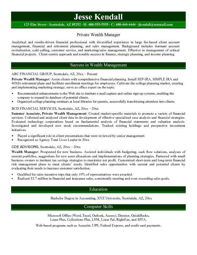 Free Private Wealth Manager Resume Example