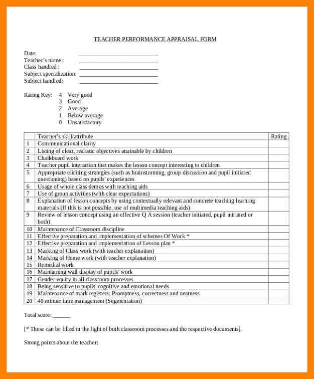 9+ teacher appraisal form sample | day care receipts