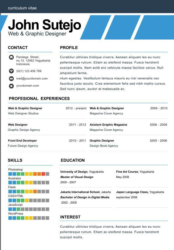 elegante one page Elegant one page resume template | Tailor Made ...
