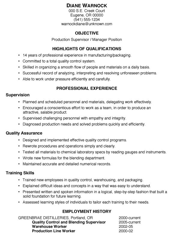 manufacture resume template production supervisor resume sample ...