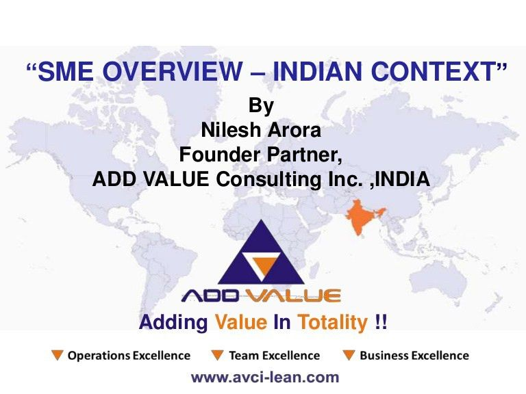 Overview of Indian SME - ADDVALUE Lean Consulting Firm