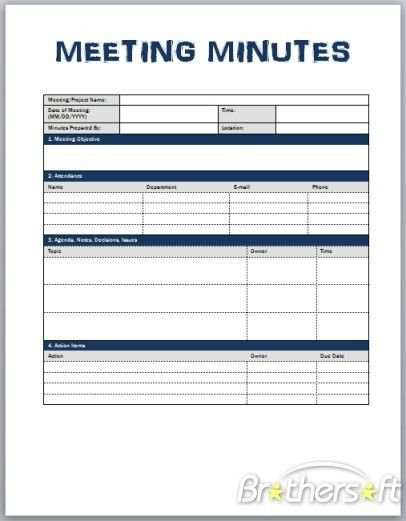 Project Meeting Minutes Template. 9 Best Images Of Meeting Notes ...
