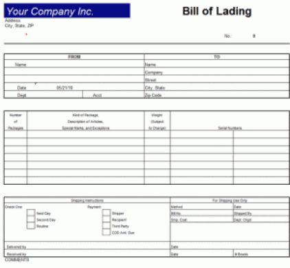9+ Bill Of Lading Templates - Excel Templates