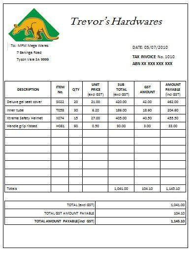 Australian Tax Invoice Template 1 | Austrialian Tax Invoice ...