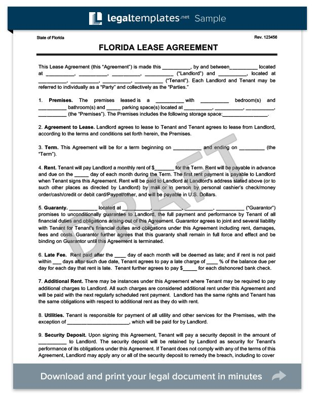 Florida Residential Lease Agreement | Create A Free Rental ...