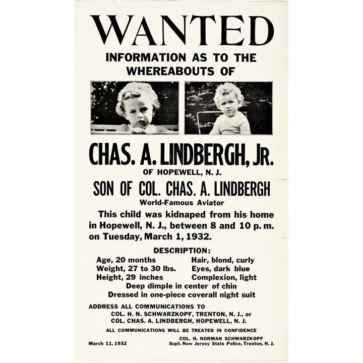 1932 Exceptional Pair of Baby Charles A. Lindbergh Jr. Wanted ...