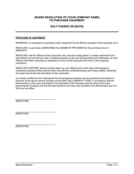 Board Resolution to Purchase Equipment - Template & Sample Form ...