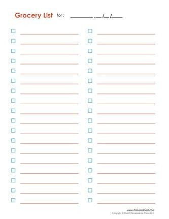 Blank Grocery List Template | free excel templates