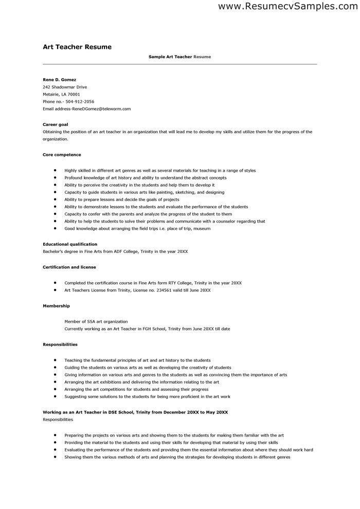 art teacher resume example teacher resumes examples teaching cv ...
