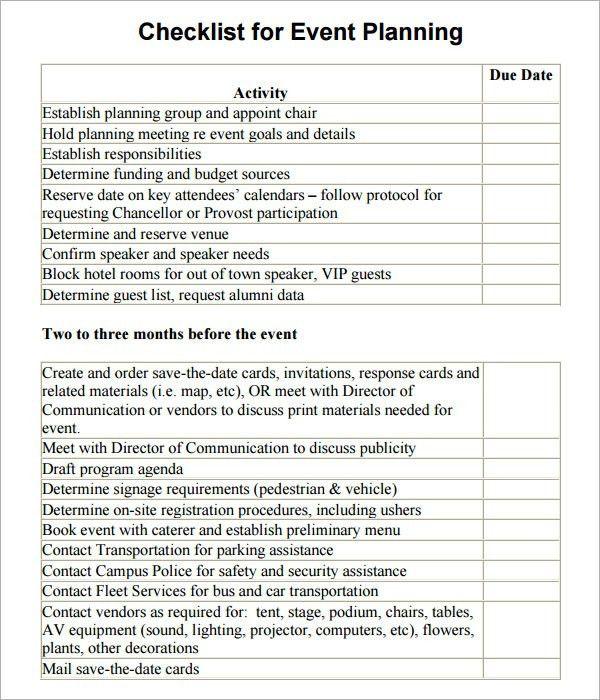 Sample Event Checklist Template. 10 E-Kit Event Day Checklist ...