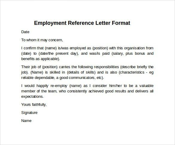 Sample Reference Letter Format   7+ Download Free Documents In PDF .